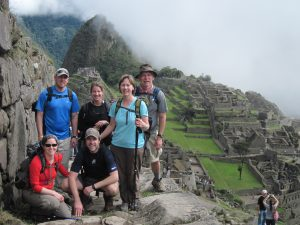 Trekkers at Machu Picchu Inca Trail Trek Peru