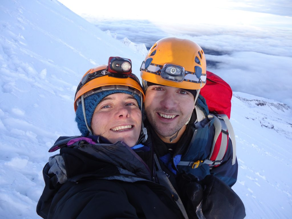 Happy climbers on Cotopaxi volcano, Ecuador