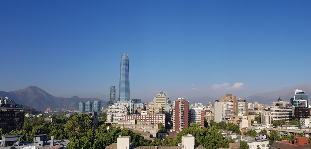Looking over Providencia towards the Andes, Santiago, Chile